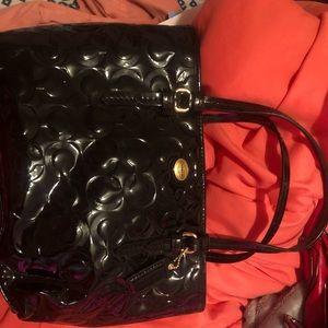 Small black coach tote bag